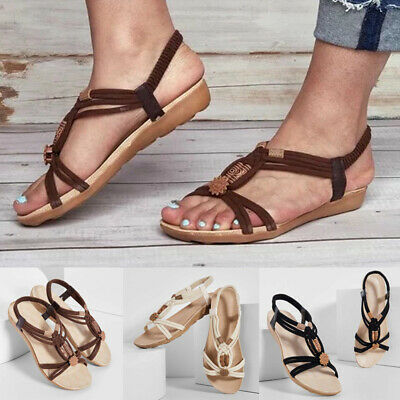 Women Summer Boho Beach Sandals Flats Ladies Holiday Casual Strap Shoes Size 3-6