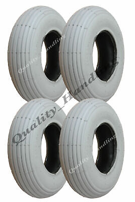 Grey mobility scooter tyre 200x50 ribbed tire non marking wheelchair - set of 4.