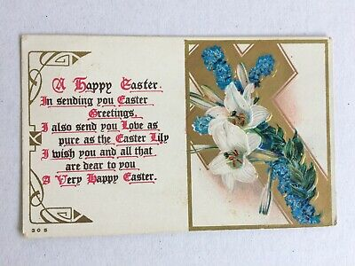 Vintage Collectable Postcard - 1912 - A Happy Easter - Lillies & Forget Me Nots