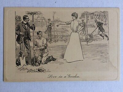 Vintage Collectable Postcard -Love in a Garden -c Early 1900s - Pictorial Comedy