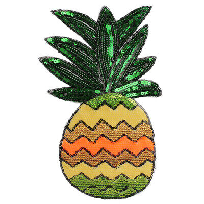 Pineapple Sequin Embroidery Sew Iron On Patch Badge Jeans Applique Crafts DIY