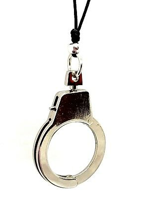 Handcuff Pendant Corded Necklace BDSM Kink Cyberpunk Biker Alternative Goth