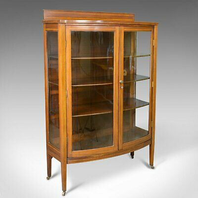 Antique Bow Fronted Display Cabinet, Mahogany, English, Edwardian, Circa 1910