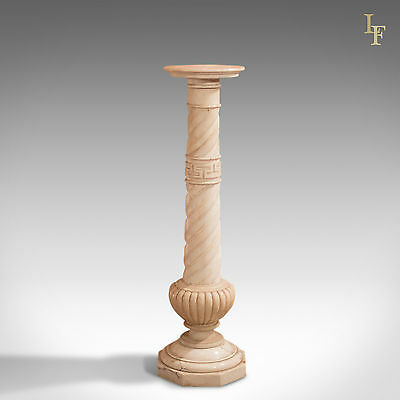 Antique Stand, Alabaster Marble Torchere, Greek Influence Pillar Victorian c1900