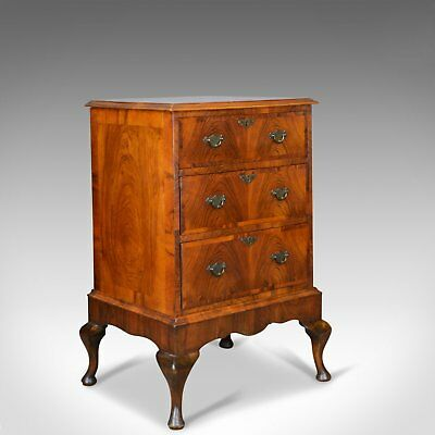 Georgian Revival Chest of Drawers on Stand, English, Walnut Cabinet, Early C20th