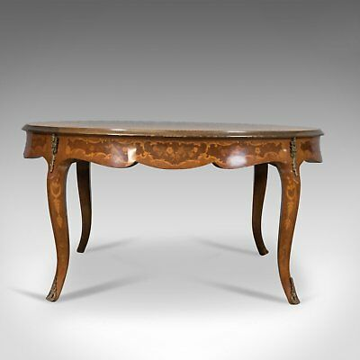 Large Round Coffee Table, 19th Century Italianate Form Made in Late 20th Century