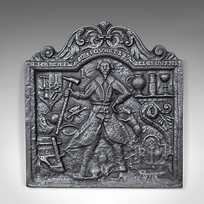 Antique Fire Back, English, Victorian, Cast Iron, Plate, 19th Century Circa 1900