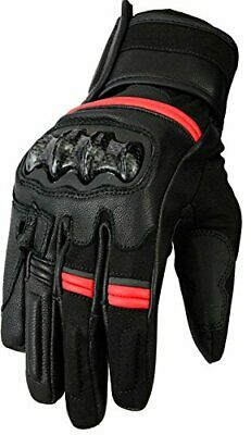 Bikers Gear Australia Vega Short Sports Leather Motorcycle Gloves, Red, XL