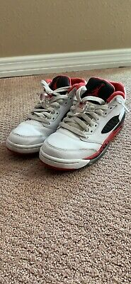new arrival ef73b f3925 Youth Air Jordan 5 Retro Low (GS) 314338 101 White  Red  Black