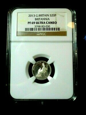 2013 NGC PF69 GREAT BRITAIN 20 PENCE 1/10 oz SILVER PROOF BRITANNIA COIN