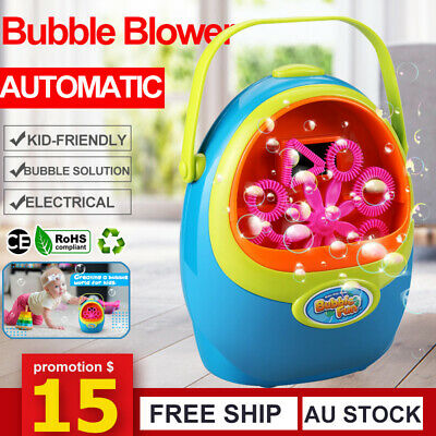 Fully Automatic Bubble Blower Blowing Maker Kid Party Camping Effect w/ Solution