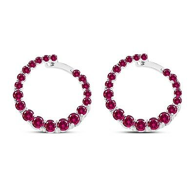 Open Circle Hoop Earrings 1.00 Ct Round Cut Red Ruby In 925 Sterling Silver