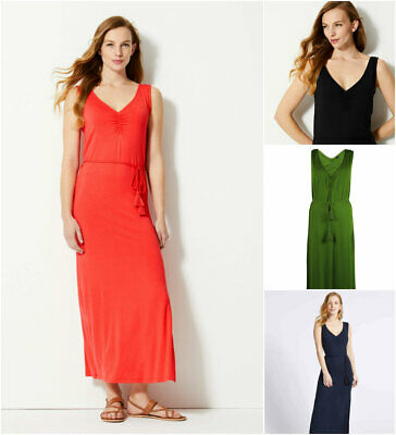 M&S MARKS AND Spencer Curve Plus Size Jersey Maxi Dress Navy Black Red Green