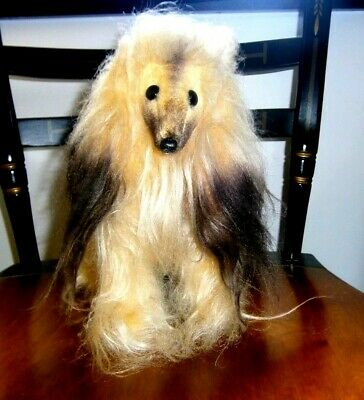 Rare Vtg Afghan Hound Dog mohair plush glass shoe button eyes Dakin Japan 1960