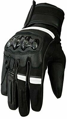 Bikers Gear Australia Vega Short Sports Leather Motorcycle Gloves, White, 2XL