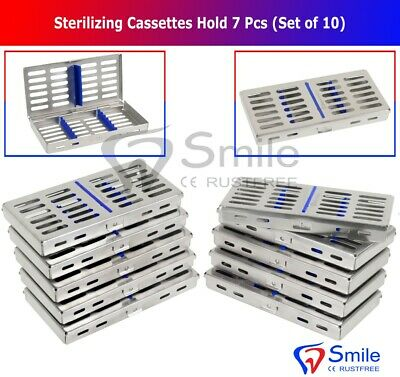 10X Sterilization Cassette Rack Tray Hold 7 Dental Surgical Instrument Autoclave