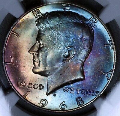 1968-D 50C Kennedy Half Dollar NGC MS64 BU UNC Monster Toned Color Silver