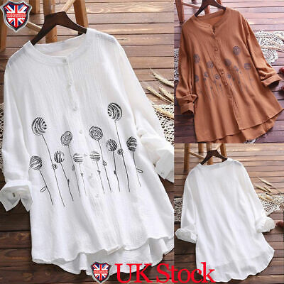 Plus Size Women Button Tunic Blouse Long Sleeve Loose Cotton Linen Shirt Tops UK