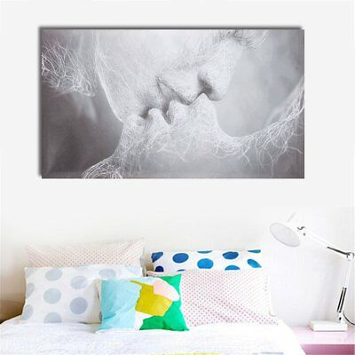 16x24'' Framed Black Love Kiss Abstract Oil Canvas Wall Art Print Painting Decor