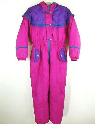756f6c329 Paramount Kids Snow Suit Ski Board Vintage 80s 90s Girl Size 12 14 Large  Pink