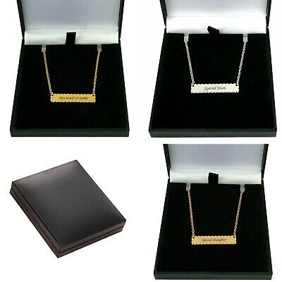 Personalised Bar Necklace with Engraving, Rose Gold, Gold or Silver, Gift Boxed