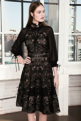 aa79b5cb Marchesa notte Women's Black Guipure A-line Cocktail Dress Brand New, Lace  Sexy