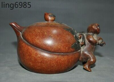 Marked China Yixing Zisha Pottery Hand Carved monkey Peach Teapot Flagon tea pot