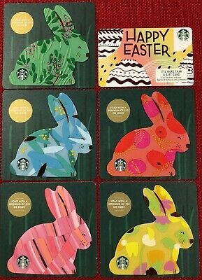 - ARCH CARD NEW -- COMPLETE SET OF 6 PCS 2019 STARBUCKS EASTER GIFT CARD