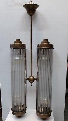 Antique Vintage Art Deco Fixture Ceiling Brass Hanging Light Glass Rod Lamp