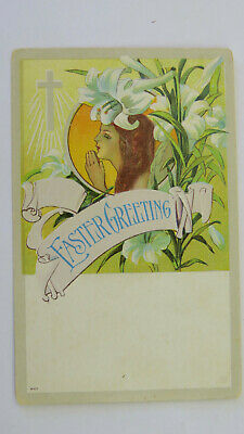 1910s Edwardian Vintage Postcard Easter Sunday Greetings Blessings Lily Flower