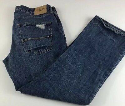 Abercrombie & Fitch Mens KILBURN BOOT Cut Jeans 32x30 Distressed Button Fly EUC