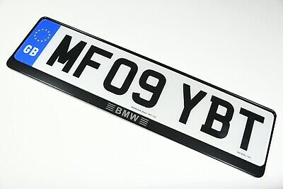 2 x Luxury Black Stainless Steel Number Plate Holder Surround Frame for BMW