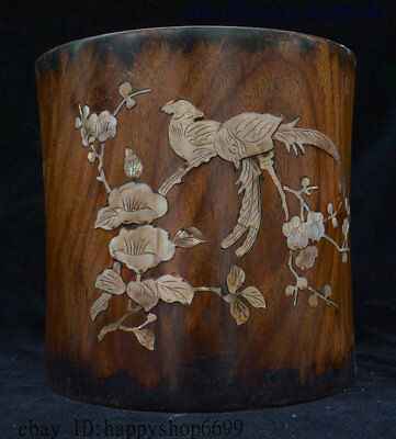 8 Collect Old Chinese Huali Wood Inlay Shell 2 Parrot Bird Brush Pot Pencil Vase