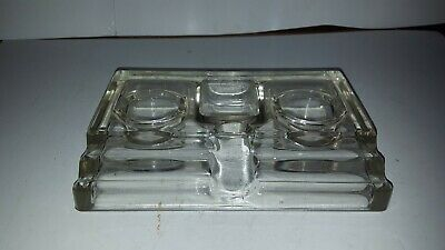 Antique Glass Double Desk Inkwell & Fountain Pen Holder