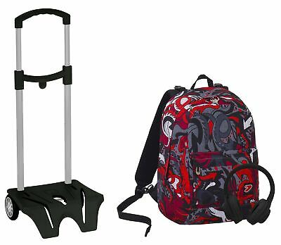 b304ccbd14 Zaino SEVEN The Double + Easy Trolley - FLAME - Nero Rosso - cuffie - 2