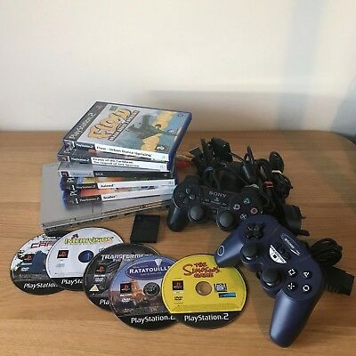 Sony PS2 Silver Slim Console Bundle Inc Games & Controllers - Ready To Play