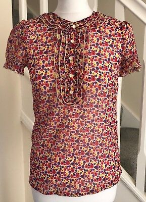 9e8ee599466912 Topshop Ditsy Floral Print Semi Sheer Collared Blouse Pearl Buttons Pink  Size 8