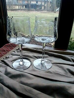 """2 Excellent Cambridge MARJORIE Etched Optic Approx. 7"""" Water Goblets Stem 7606"""