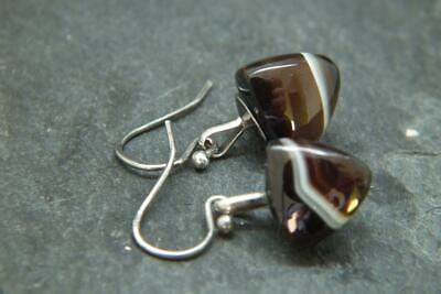 Lovely Antique Victorian Banded Agate & Solid Silver Button Earrings