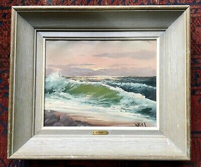 Original 1950s OTTO WAAR Seascape Ocean Painting Oil On Canvas Signed Framed