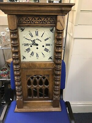 Antique Solid Oak Wall Clock Old Charm Wood Bros