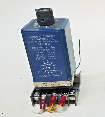Automatic Timing & Controls 319 dc Time Delay Relay 5A 24VDC w/Socket 60 seconds