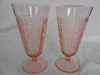 2 SHARON Cabbage Rose PINK TALL FOOTED ICE TEA TUMBLERS Federal Depression Glass