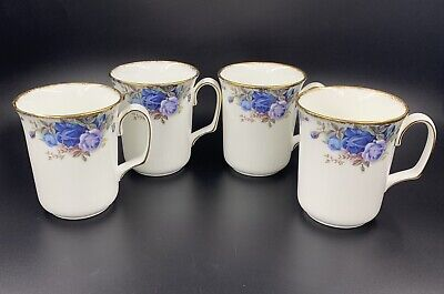 Royal Albert Moonlight Rose Coffee Mugs Set Of 4 Bone China England