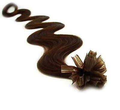 "20"" Indian A Grade Remy Nail Tip Pre Bonded Wavy Hair Extensions #2 Dark Brown"