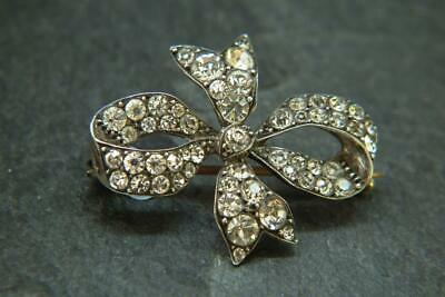 Stunning Antique Edwardian Solid Silver Super Sparkly Paste Bow Brooch -Signed-