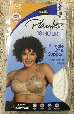 ef8522d3a1d NWT Playtex 18 Hour Bra 4745 Wire Free Ultimate Lift   Support White Sz 38B  (