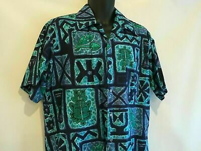 47a4b64e Vintage 1960s GO BAREFOOT IN PARADISE Hawaiian Shirt Large Tall surf Tribal  Tiki