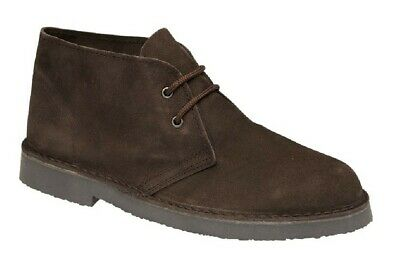 Roamers Desert Boots 2 Eye Unisex Real Suede Leather M467 Chisel Toe UK 3-12 Dar