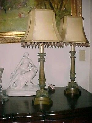 Pair French Bronze Candlestick Lamps & Custom Shades